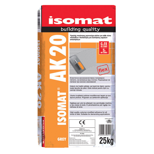 Υψηλής ποιότητας κόλλα πλακιδίων ISOMAT AK 20