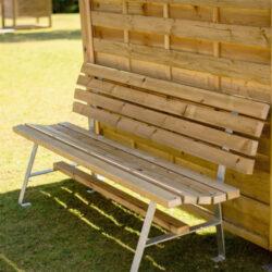 Ξύλινο παγκάκι κήπου με μεταλλικά πόδια 75x180