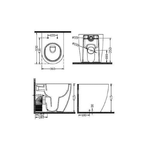 Λεκάνη τουαλέτας NEW LUNA BTW 2030 CASA PRACTICA 2