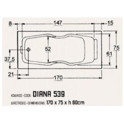 Μπανιέρα DIANA 170x75 CASA PRACTICA 1