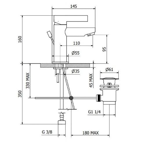 Μπαταρία νιπτήρος 2H710 CASA PRACTICA 1
