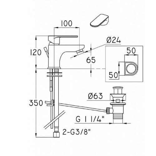 Μπαταρία νιπτήρος 3M750 CASA PRACTICA 1