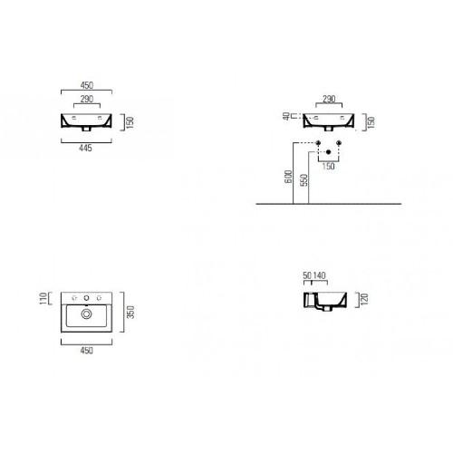 Νιπτήρας KUBE-X 45x35 CASA PRACTICA 3