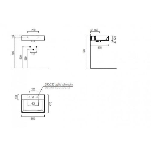 Νιπτήρας KUBE-X 60x47 CASA PRACTICA 2