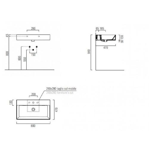 Νιπτήρας KUBE-X 80x47 CASA PRACTICA 2