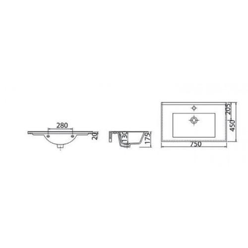 Νιπτήρας SLIM SU 75 CASA PRACTICA 1