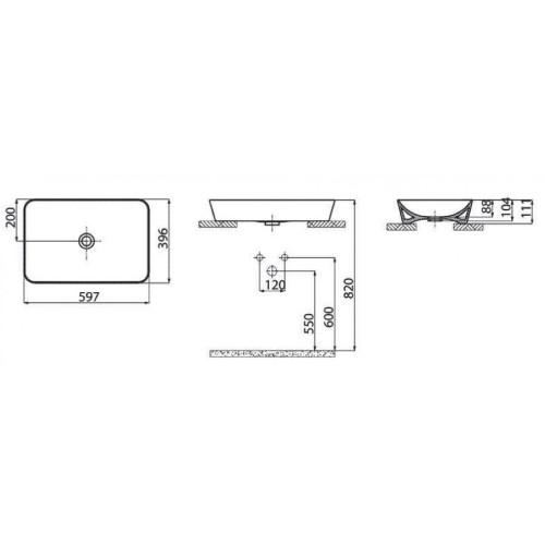 Νιπτήρας UL 060 Λευκό CASA PRACTICA 2
