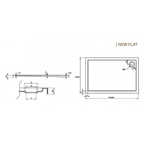 Ντουζιέρα NEW FLAT 9 70x130x5,5 CASA PRACTICA 1