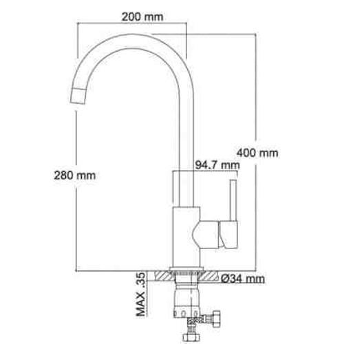 Μπαταρία νεροχύτη Rosa Inox - K 127 CASA PRACTIKA 1